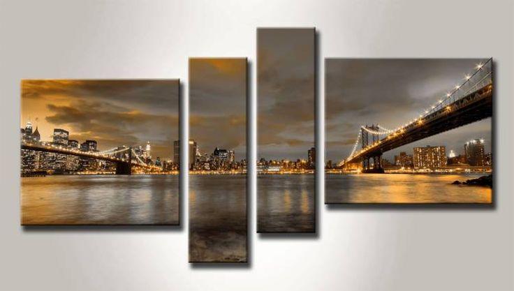 MB_10111095_N / Cuadro Vista de Nueva York desde Puente de Brooklyn ocre