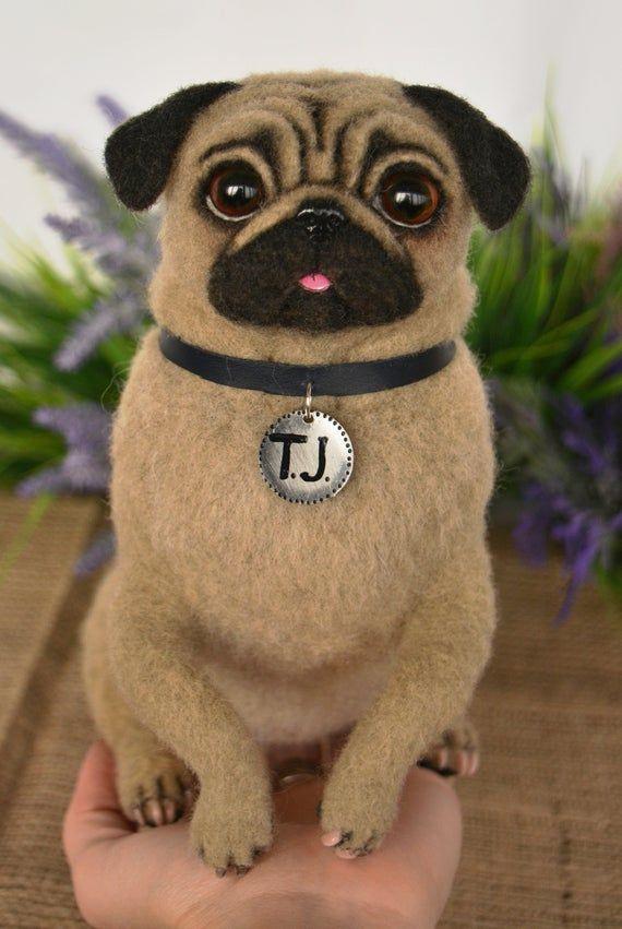 Pug Artist Needle Felted Dog Sculpture Memory Pet Portrait Dog