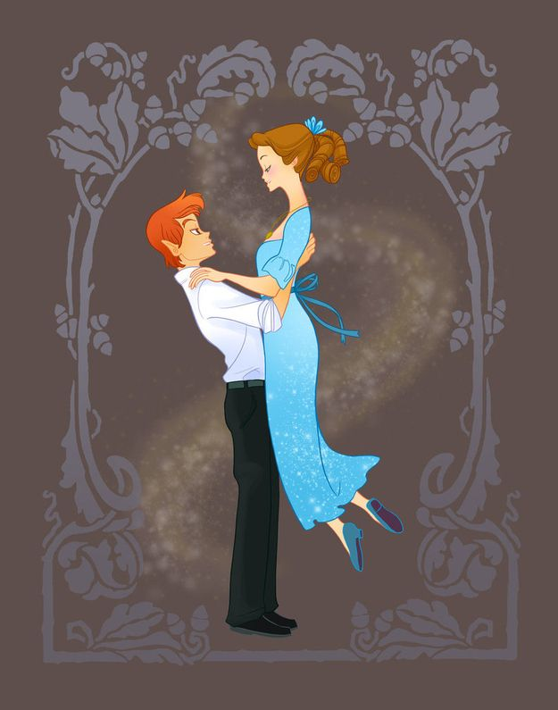 14 Disney Couples Go To Prom  Before enrolling in college, they have to survive high school. The unique style of Kathryn Hudson really shines here.  Peter and Wendy - Peter Pan