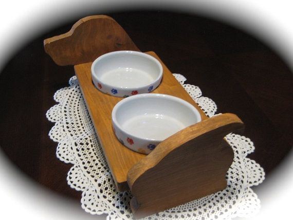 Wooden elevated dog food stand Handmade feeding by moldyoldies