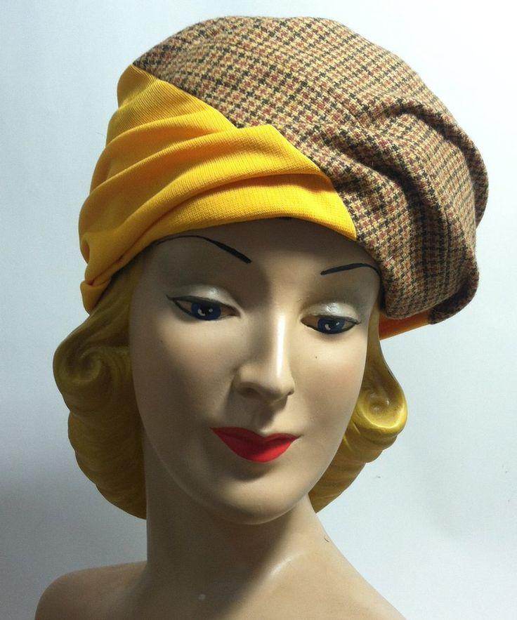 Tweed and Goldenrod Draped Turban Knit Hat circa 1960s Dorothea's Closet Vintage Hat