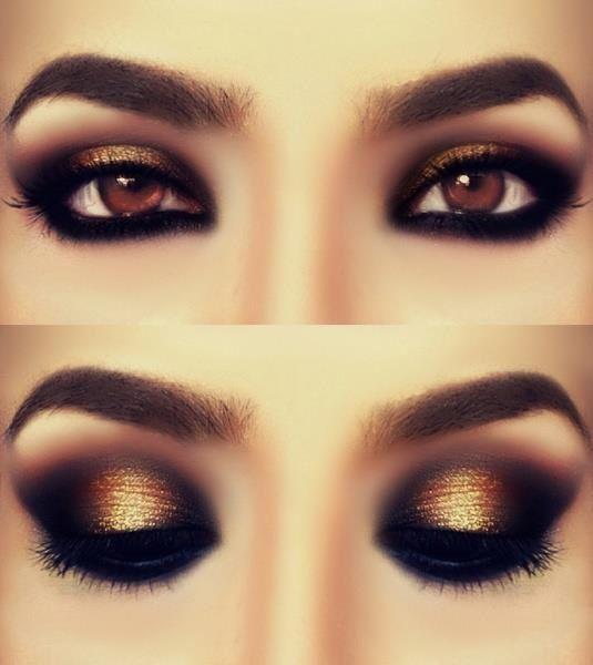 Olho preto e dourado.