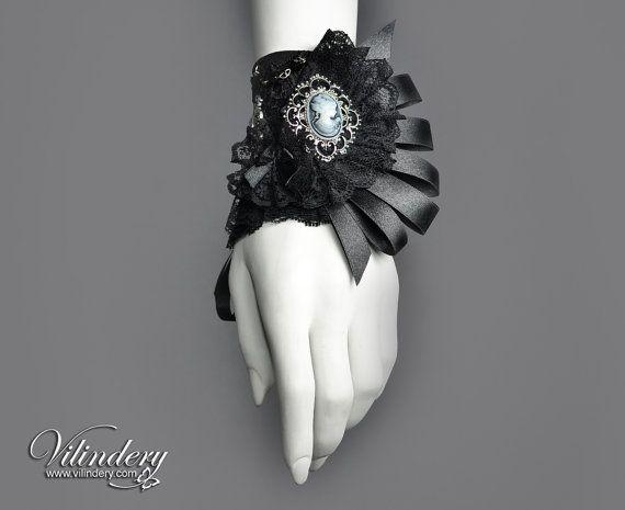 Little Goth Victorian Cuff Bracelet with lady cameo, Elegant Romantic Goth, Wedding Jewelry, Lolita Accessories https://www.etsy.com/shop/Vilindery