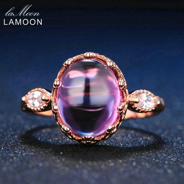 LAMOON 10x8mm 100% Natürliche Amethyst 925 Sterling Silber Schmuck Rose Gold Lila Edelsteine Retro Ring Für Geschenk freundin LMRI022