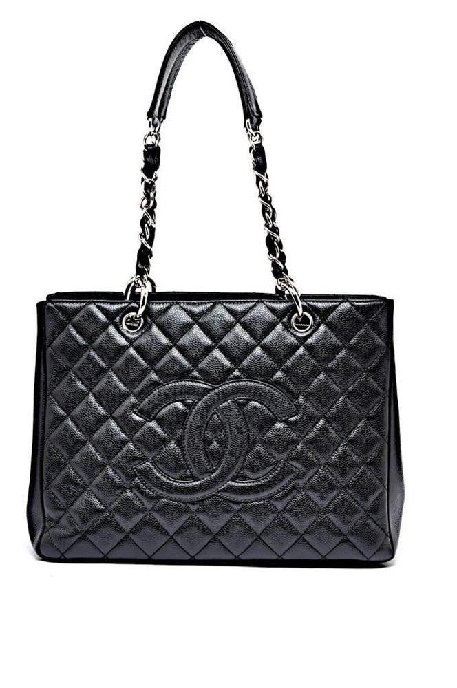 755e1520b90bc1 Chanel Black Caviar Classic Grand Shopper Tote GST Shopping Bag 13 x 10 # Chanel #Tote