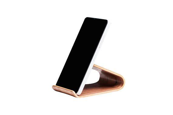 Universal smartphone stand Wood paper clip holder for desk