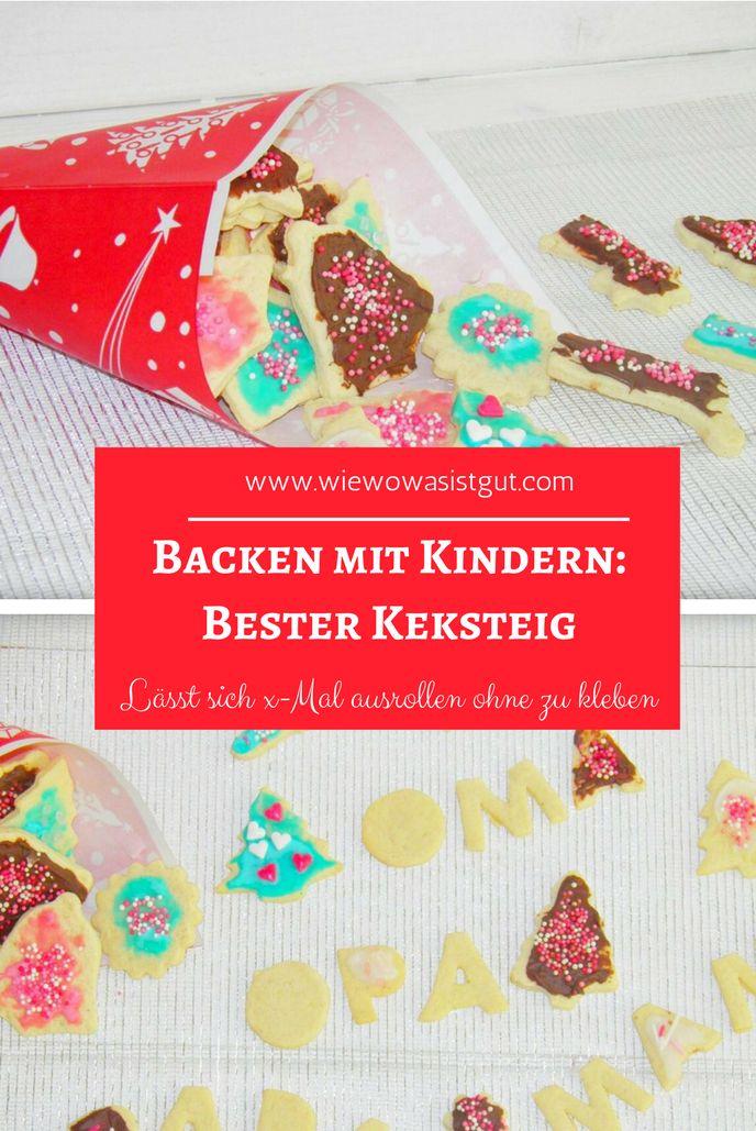 Dies ist ein sehr einfacher Teig um Kekse zu backen. Egal ob Stempelkekse, Weihnachtskekse oder Geburtstagskekse. Der Teig lässt sich x-mal wieder ausrollen ohne zu kleben. Mit Thermomix oder der Küchenmaschine schnell hergestellt. #kekse #kinder #weihnachten