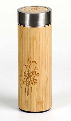 Élégant manteau Gourde avec bambou de bouteille isotherme en acier inoxydable et passoire à thé intégré de fitessa: Élégant double paroi de…