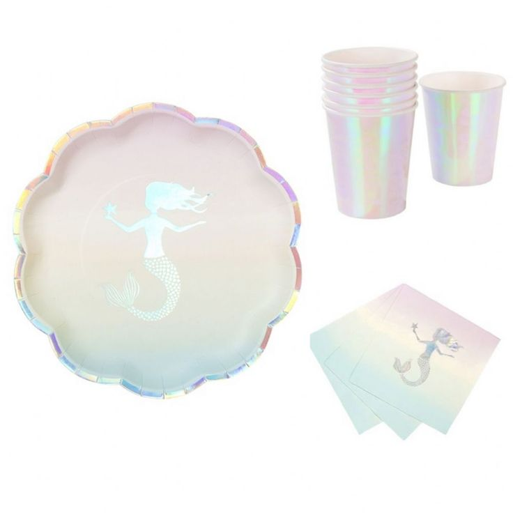 This set includes 12 We Heart Mermaids Paper plates Under the sea These stunning iridescent detail mermaid plates are perfect for kids birthdays and