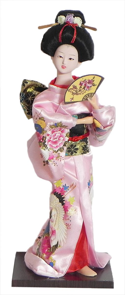Japanese Geisha Doll in Printed Light Pink Kimono Dress Holding Fan (Cloth, Clay, Plastic and Thermocol)