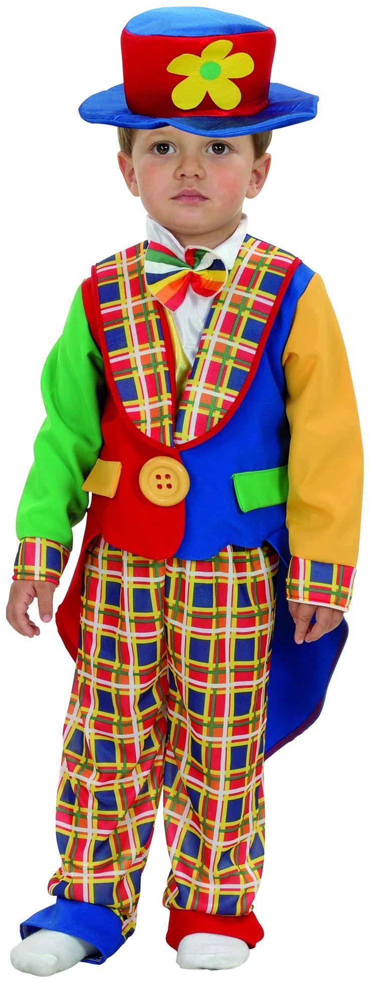 Disfraz de payaso para niño: Este disfraz de payaso para niño se compone de una chaqueta, un pantalón y un sombrero. El sombrero semirrígido es rojo y azul, y tiene una flor amarilla cosida en la parte...