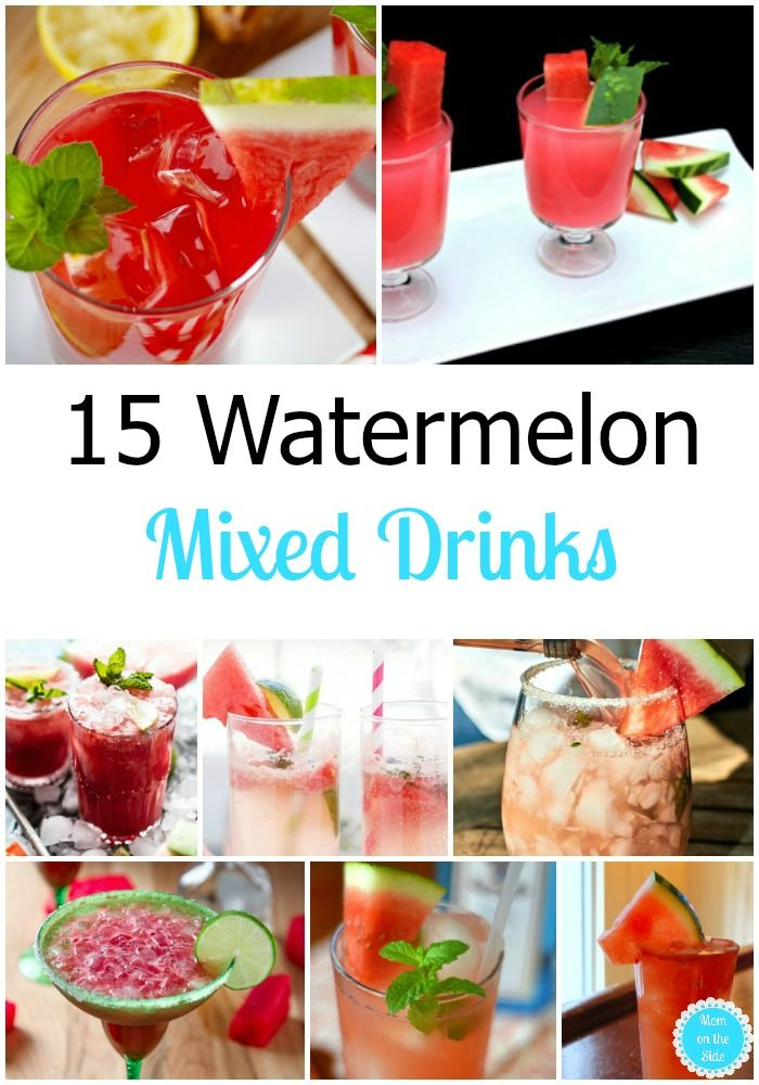 This Thirsty Thursday we are sipping on 15 Watermelon Mixed Drinks and Cocktails that are perfect beverages for summer parties! via @momontheside