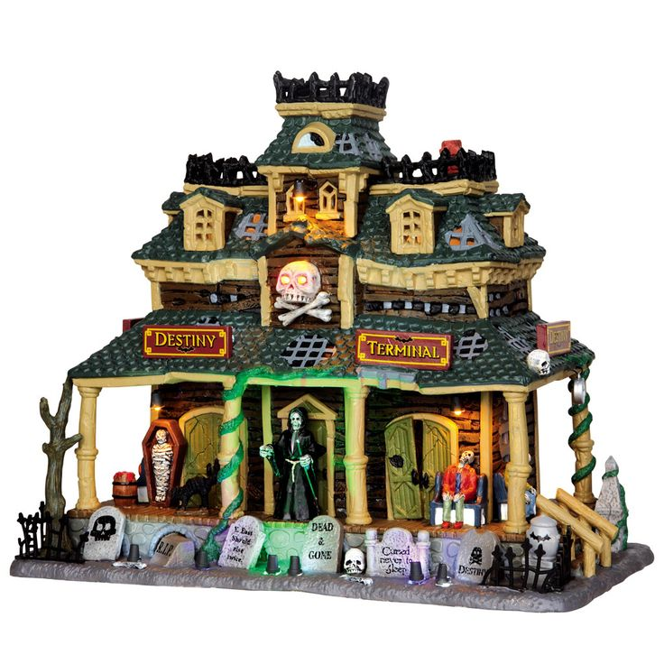 add a train station with your train set to give it an extra spooky feel - Lego Halloween Train