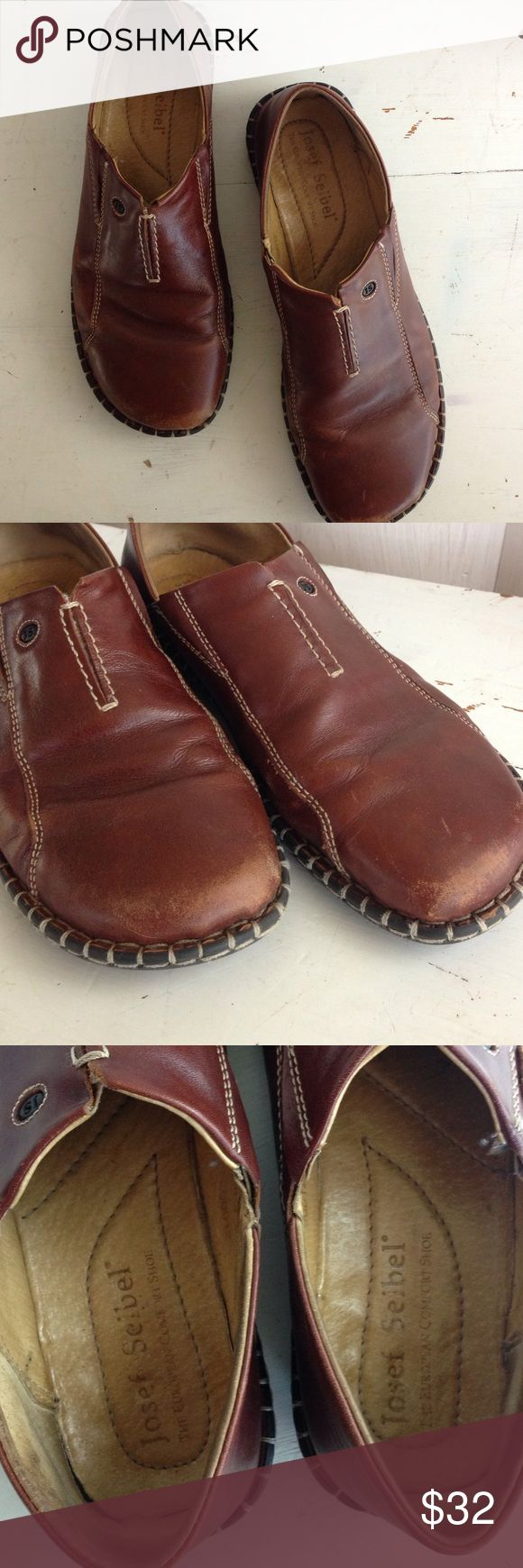 Josef Seibel brown leather shoes Josef Seibel brown leather shoes , very comfortable, good condition some scuffs on the toes. Josef Seibel Shoes Flats & Loafers
