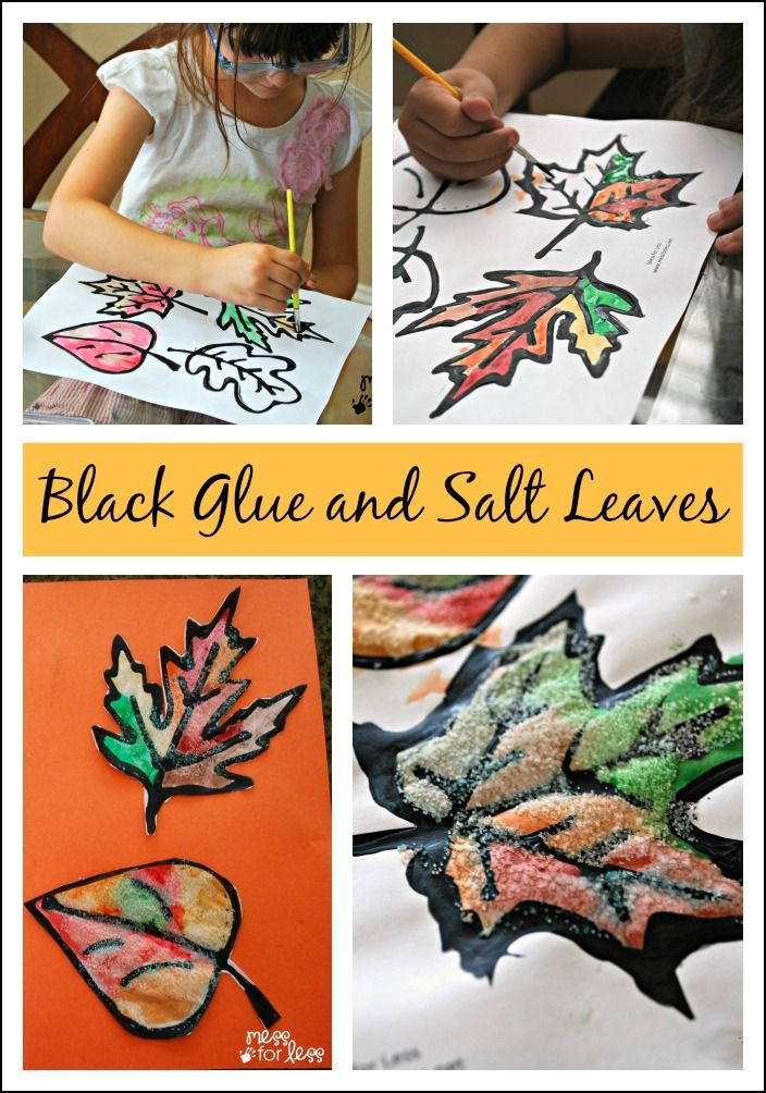 Black Glue and Salt Leaves - get your free leaf printable and make these…