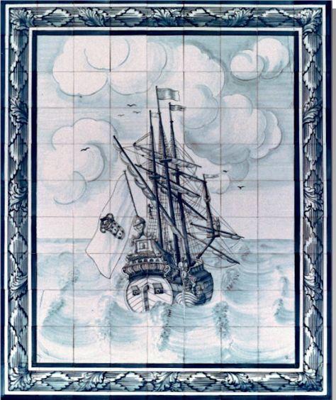 #azulejos #bateau réf : cerb_133_3_3  #mer #carrelage #tile #boat #sea #decoration #bleu #blue