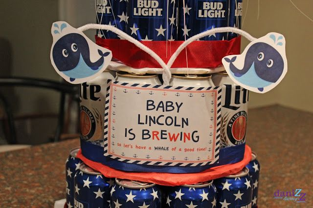 Beer Can Cake Decorations: A baby is brewing so let's have a whale of a good time!