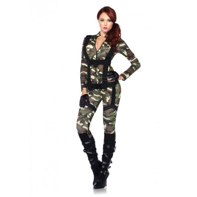 Sexy camouflage bodysuit met harnas. Tweedelig luxe dames kostuum set pretty parachutist. Deze camouflage bodysuit is inclusief het bijpassende body harnas. 95% polyester en 5% spandex. Luxe kwaliteit. Carnavalskleding 2015 #carnaval