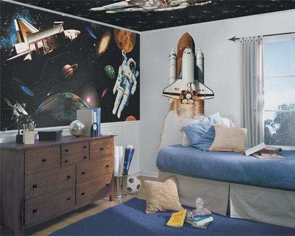 space rocket bedroom mural
