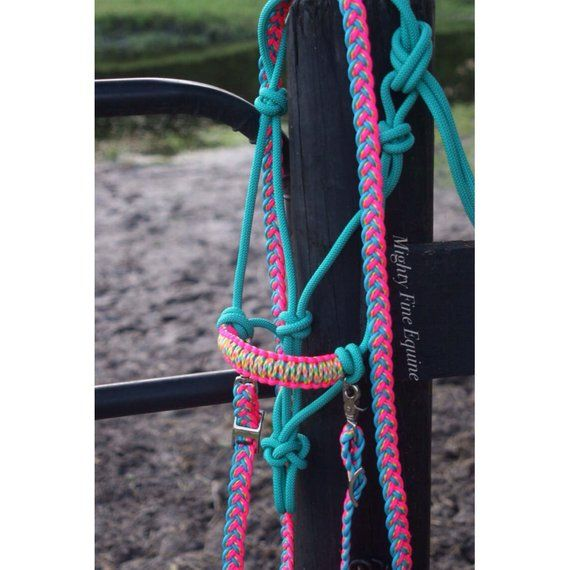 BLACK PONY Adjustable Braided Cowboy Knot Rope Halter w// Lead! BLUE NEW TACK!