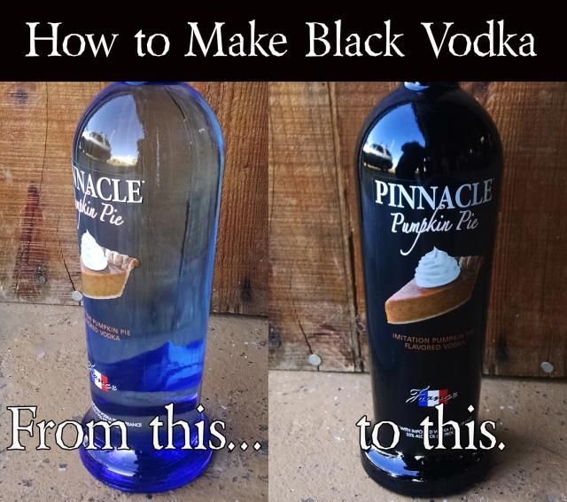 DIY Black Vodka for Halloween Cocktails: Turn any vodka into black vodka with this easy trick and use it for Halloween cocktails and other drinks that you want black as night.