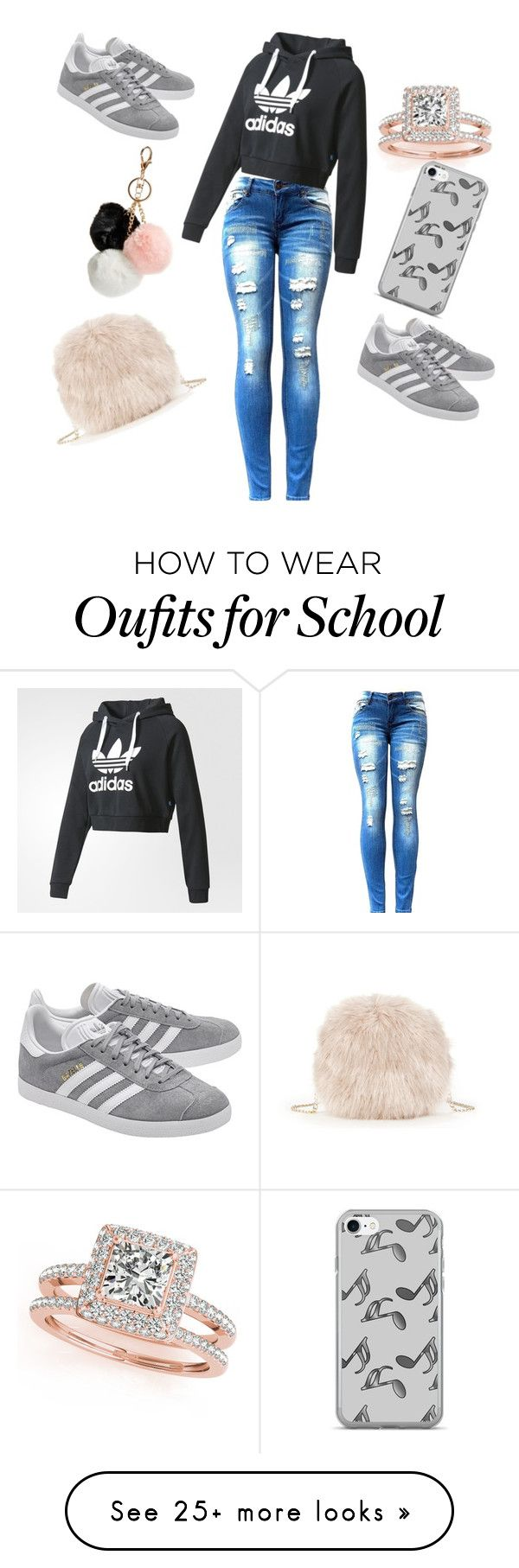 """my daughter slays in middle school.... "" by girlietomboy on Polyvore featuring Sole Society, Allurez, adidas, adidas Originals, Music Notes and GUESS"