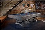 Brunswick Birmingham pool table complete with a wrought iron base.  Reminds me of an old old machine a timeless piece for your home