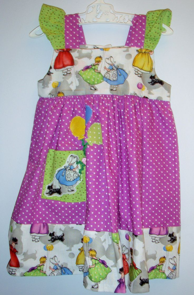 Girl's party dress, size 12-18 months, bright colours, unique, gorgeous design, applique, balloons, pocket, polkadot, baby present by LittleLarkClothing on Etsy