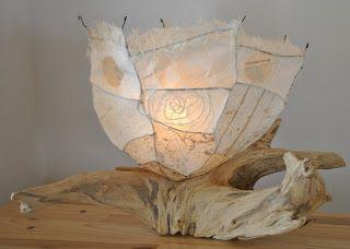 lampe de bois flotté - bois de mer de la Gaspésie