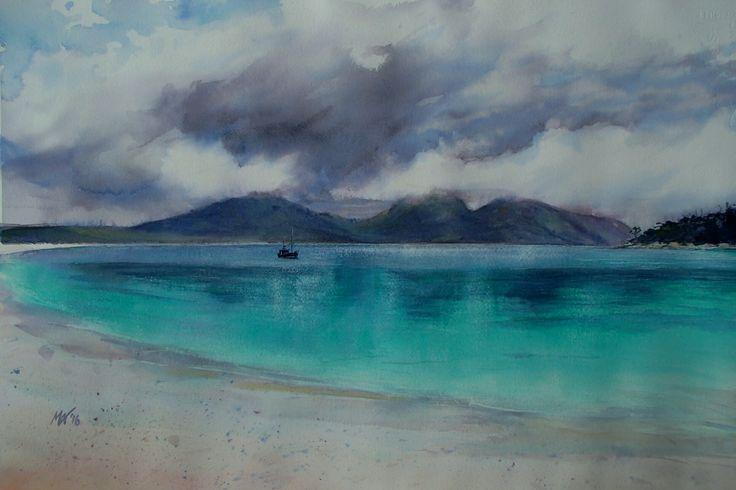 Wineglass bay. East Coast, Tasmania. Watercolour. Melhillswildart.
