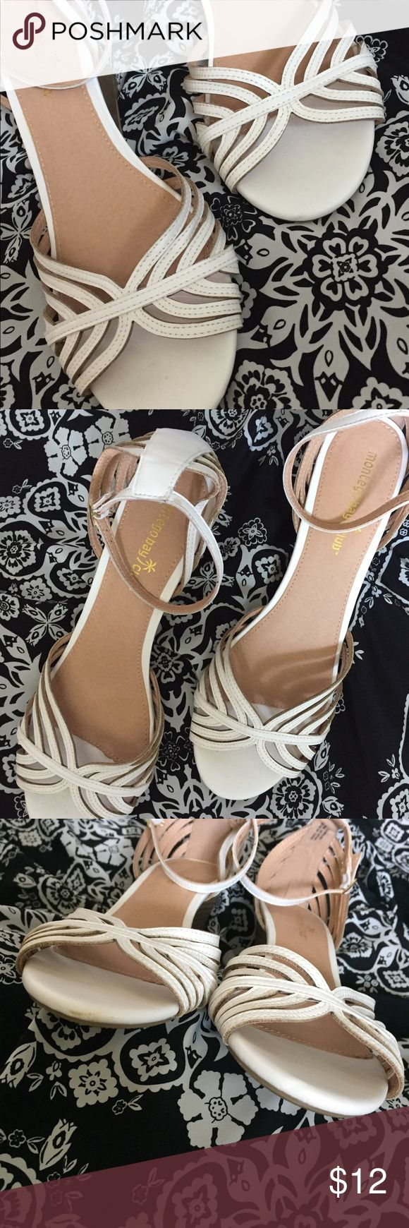 "White Wedge Sandals with Ankle Strap Barely worn (indoor wedding, if I remember correctly) size 11, white sandals by Montevideo Bay... which I think is Payless Shoes?  EUC heel is about 2 1/2"" Montego Bay Club Shoes Sandals"