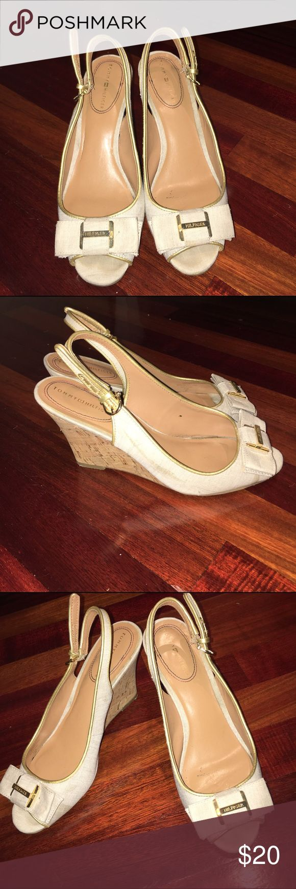 Tommy Hilfiger heels These are lightly worn heels. Good condition. Minor flaws. See photos. Accidentally bought them with the stains . So disappointed. Happy shopping 😁 Tommy Hilfiger Shoes Heels