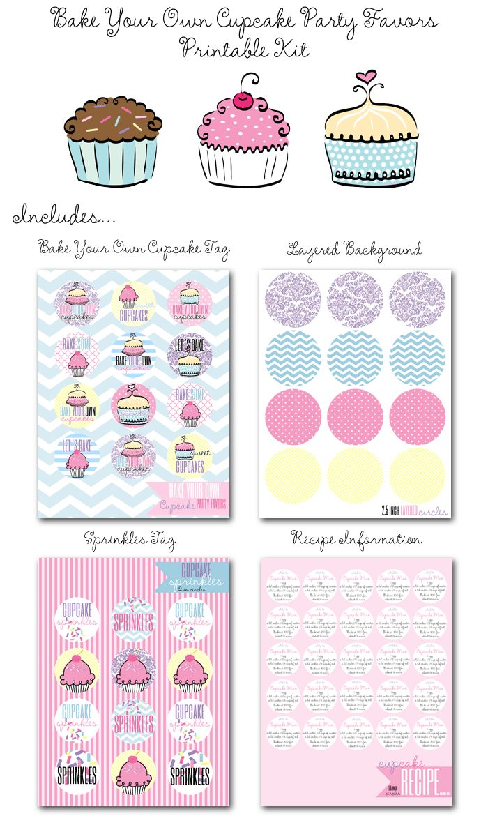 bake your own cupcake party favors, cupcake printables, diy cupcake favors, sprinkle tags