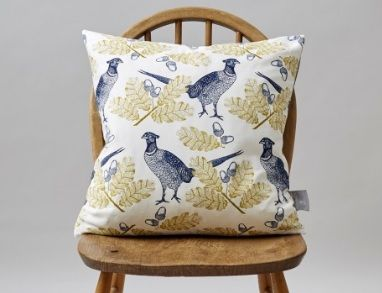 Thornback & Peel If you have a soft spot for sweet patterns with just the right combination of heritage and individuality, Thornback & Peel will always have something for you to get your hands on. This Pheasant and Oak patterned cushion is a great buy, the royal blue birds will really pop mixed into an array of scatter cushions.