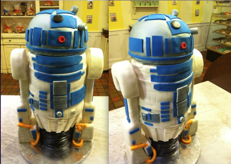 R2D2 cake complete with a moving head, blinking red light, and sound module installed  with an R2D2 sound recording. The head and arms are constructed with rice krispies. The body is vanilla cake filled with a strawberry buttercream. Click here to see the cake in motion! http://www.youtube.com/watch?v=oWiGcTm_03Q=relmfu