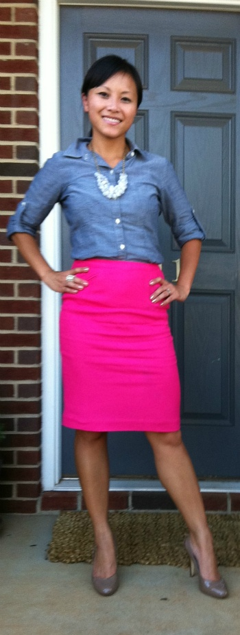 Wearing: Hot pink and chambray | My Dressy Ways