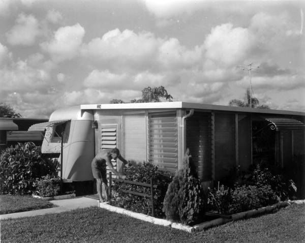 Unidentified Man Tends To Plants At Lakeside Mobile Home Park Clearwater Fl 1957