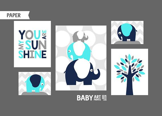 Aqua Grey Navy Boy Nursery art prints Nursery wall art
