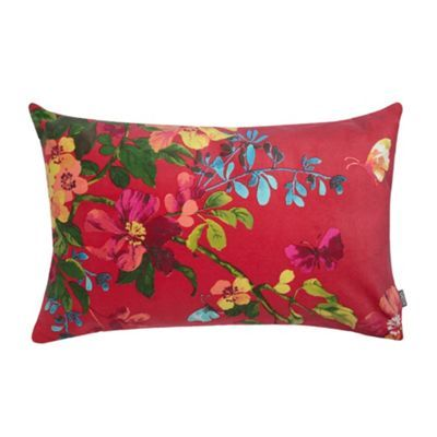 Kas Pink 'Chintz' floral velvet cushion- at Debenhams.com