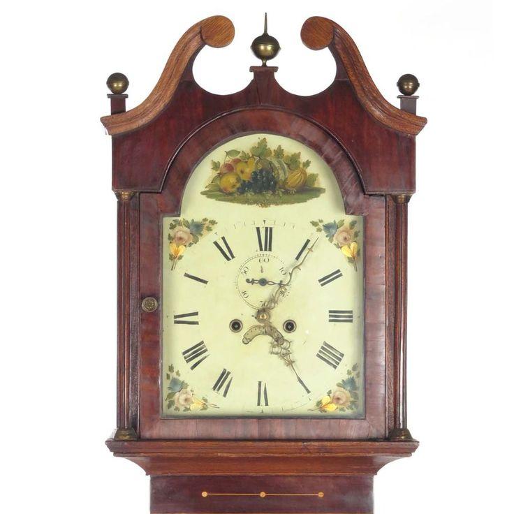 Antique grandfather clock long case tall English 8 day bell strike oak mahogany #clocks #antiqueclocks #horology #ticktock #antiques #homedecor #interiordesign #vintage