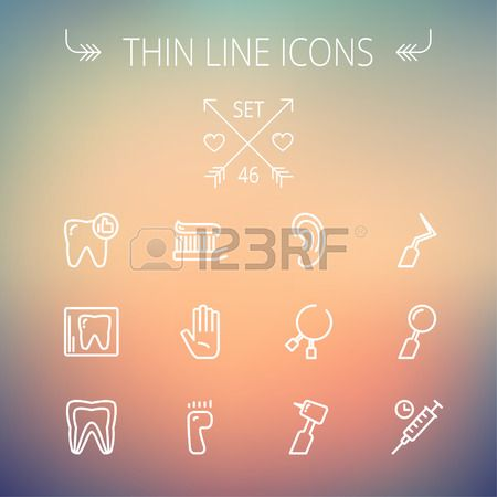 Medicine thin line icon set for web and mobile Set includes tooth toothbrush dental tools foot hand  Stock Vector