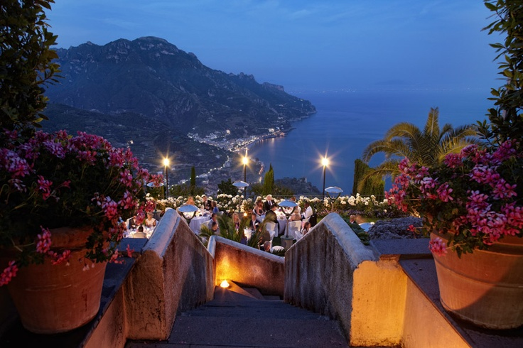 Ravello by night from Caruso Hotel