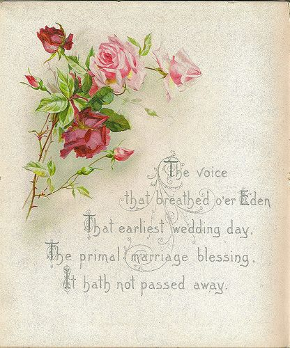 Vintage roses...message..The voice that breathed over...