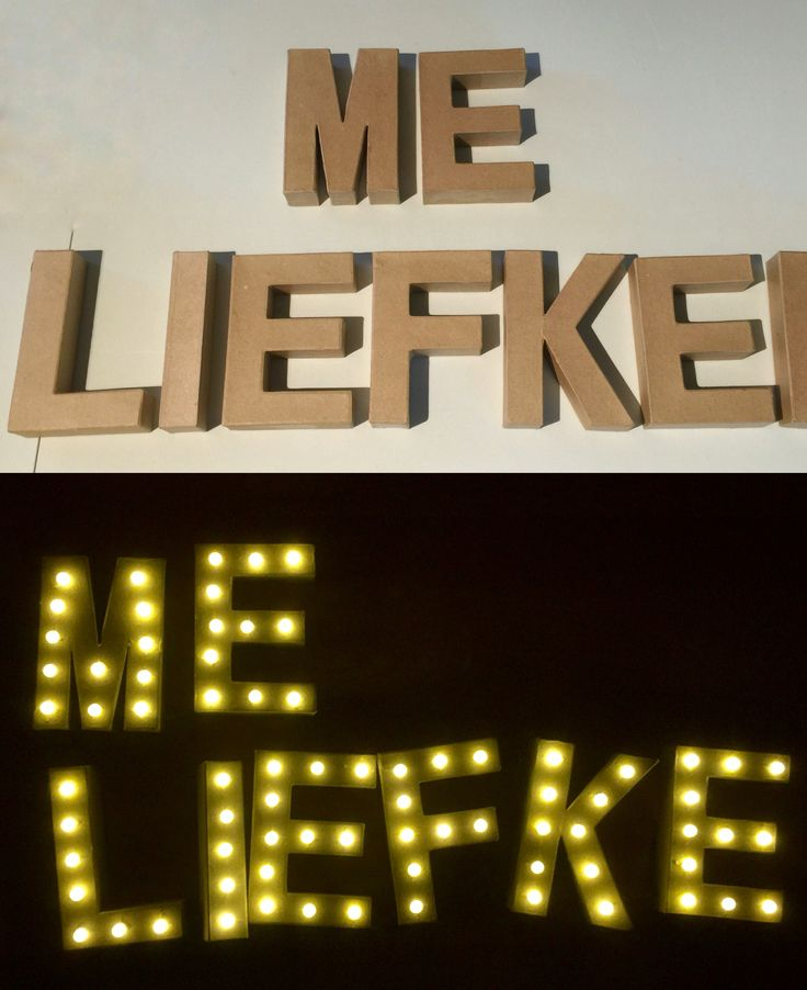 Paper letters with led lights