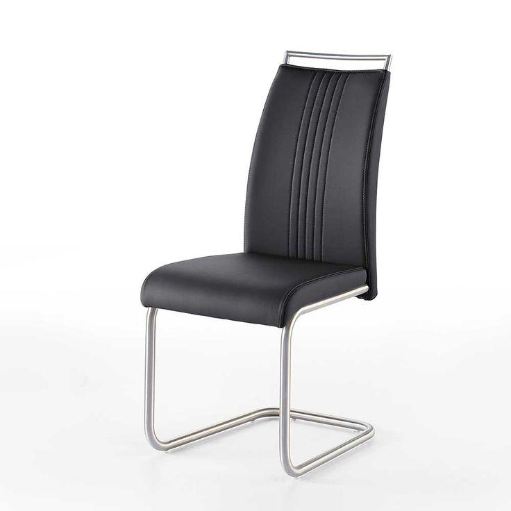 Luxury Schwingstuhl in Schwarz Kunstleder Edelstahlgestell er Set Jetzt bestellen unter https moebel ladendirekt de kueche und esszimmer stuehle und hocker