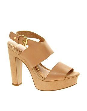 Mango Nude Strappy Platform Heeled Shoes
