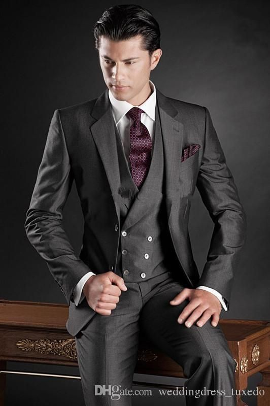 Attire For Men Custom Made Handsome Mens Wedding Suit Charcoal Grey 2015 Groom Tuxedos Mens Suit Two Buttons Groomsmen Suit Jacket+Pants+Tie+Vest+Hanky 1920s Mens Attire From Weddingdress_tuxedo, $92.52| Dhgate.Com