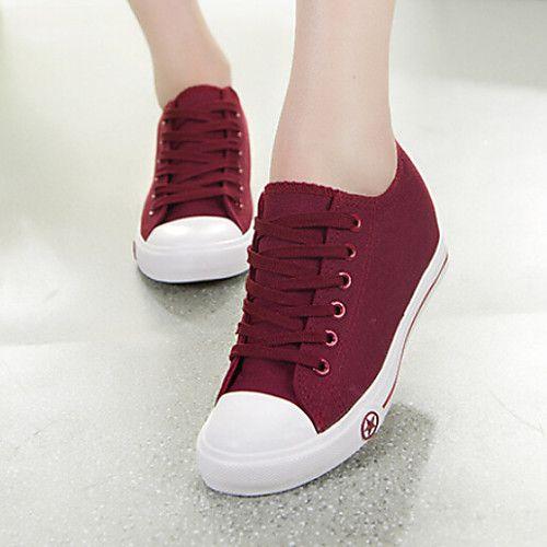 86e745004 Mulheres Sapatos Lona Primavera Verão Outono Conforto Salto Plataforma  Cadarço para Casual Ao ar livre Branco Preto Azul Vinho de 2018 por R$79.6