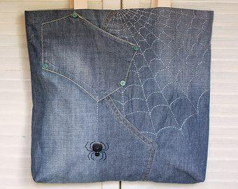 Spider bag Embroidery bag Handmade bag Repurposed denim bag