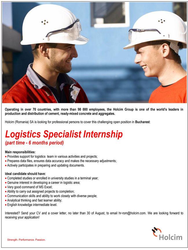 Logistics Specialist Internship  Holcim HttpWwwHipoRoLocuri